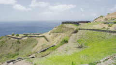 St. Kitts Brimstone Hill Fortress on Saint Kitts - Caribbean tourist destination Stock Footage