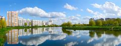 Residential buildings in recreation area with cascade of lakes, Gomel Stock Photos