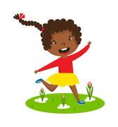 Afro girl running vector illustration Stock Illustration