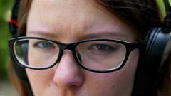 Sad wooman looking at camera. close-up Stock Footage