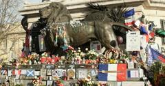Lion monument Place de la Republique, Paris Stock Footage