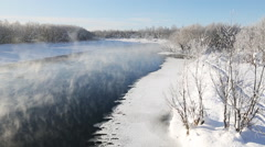 Winter landscape: beautiful view of Kamchatka River. Eurasia, Russian Far East - stock footage