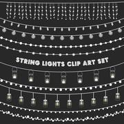 Chalkboard String Lights Set Stock Illustration