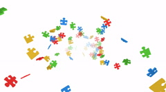 Colorful puzzle pieces flying out - seamless loop, overlay, alpha channel - stock footage