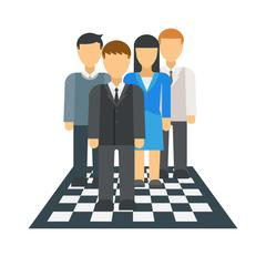 People on chessboard vector illustration Stock Illustration