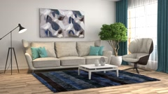 Building Up Modern Living Room Stock Footage