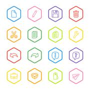 Colorful line web icon set with hexagon frame Stock Illustration