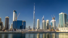 Scenic skyline of Dubai's business bay with skyscrapers at day time timelapse Arkistovideo
