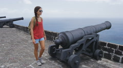 Tourist visiting St. Kitts Brimstone Hill Fortress - Caribbean destination Stock Footage