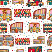 Seamless pattern with doodle recreational vechicles - stock illustration
