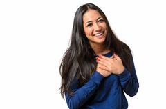 Young woman showing her heartfelt gratitude Stock Photos