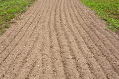 Arable land in the lane for landing - stock photo