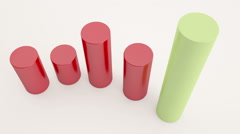 3d render of graphs with showing unique success Stock Footage
