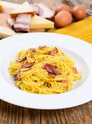 Spaghetti alle carbonara Stock Photos