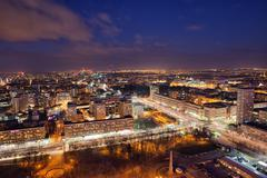 City of Warsaw by Night in Poland - stock photo
