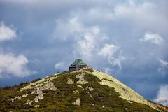 Szrenica Mountain Summit With Shelter In Poland - stock photo