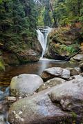 Szklarka Waterfall in Karkonosze Mountains Stock Photos