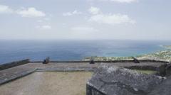 Tourist visiting St. Kitts Brimstone Hill Fortress - Caribbean destination Stock Footage