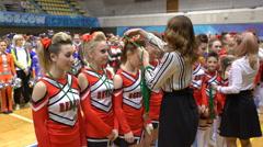 Rewarding cheerleading teams Stock Footage