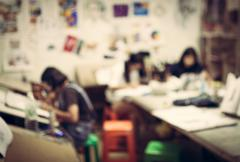 Blurred children in the art room background Stock Photos