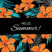 Summer tropical hawaiian background with palm tree leaves and exotic flowers Piirros