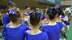 Cheerleading Team shouting their slogan before the performance. Stock Footage