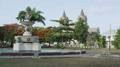 Basseterre park, St. Kitts and Nevis, Caribbean tourist destination Stock Footage