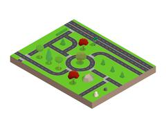 Road map. Trees and stones.3D isometric. Vector illustration. Stock Illustration