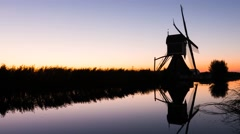 Time lapse of sunrise at the mill of Groot-Ammers Stock Footage