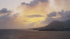 Caribbean sea sunset view of  St. Kitts island - Cruise ship destination Stock Footage