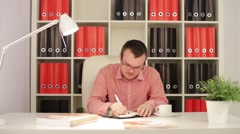 Businessman Wrote In The Diary Stock Footage