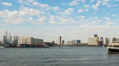 Time lapse in Rotterdam with Nieuwe Maas and ships. Stock Footage