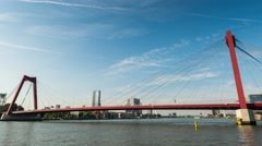 Time lapse of ships on the Nieuwe Maas in Rotterdam Stock Footage