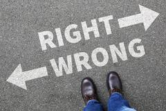 Right wrong business man concept businessman goals success solution decision  Stock Photos