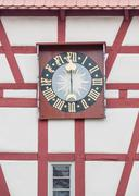Turret clock in Forchtenberg Stock Photos