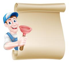 Plunger Handyman Scroll - stock illustration