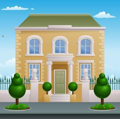 Georgian Victorian House Building Stock Illustration