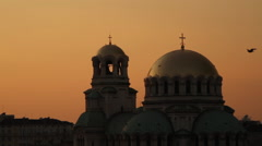 St. Alexander Nevsky at sunset Stock Footage