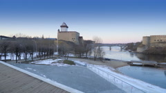 The city of Narva in Estonia Stock Footage