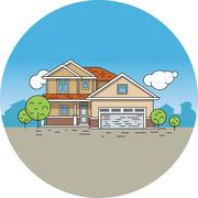 Line drawing of a house - stock illustration