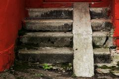 Vintage old stair treads - stock photo