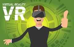 A man with virtual reality headset Stock Illustration