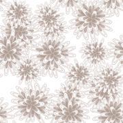 Mums flowers or chrysanthemum seamless pink pattern - stock illustration