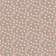 Pink and beige pastel leaves seamless pattern Stock Illustration