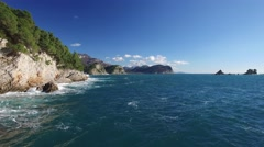 Aerial view of sea shore near Petrovac Stock Footage