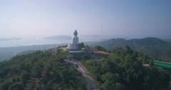 Approaching Aerial Footage of Big Buddha in Phuket Thailand Stock Footage