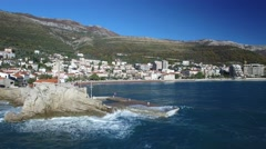 Aerial view of Petrovac city Stock Footage