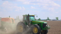 Sowing machine in the field - stock footage