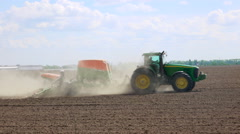 Seeding machine in the field - stock footage