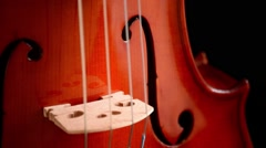 Violin or viola gyrating at black background - stock footage